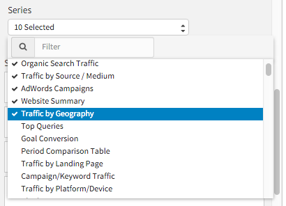 Choose Google Analytics Events to Show as a Series in Megalytic