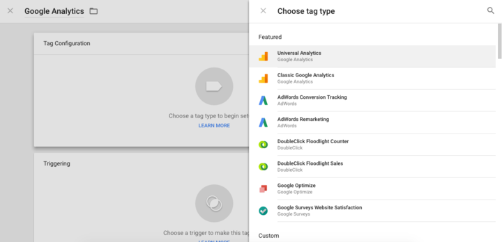 Google Tag Manager - Choose Tag Type