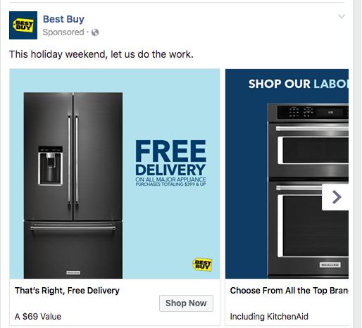 Facebook Ad Clicks to Website Carousel