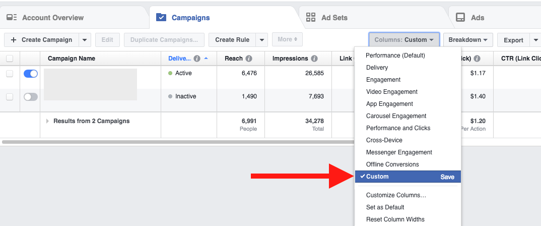 Facebook Ads Customizing Reporting Columns