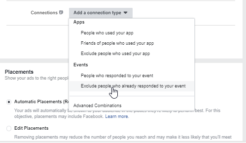 Facebook Event Connection Type