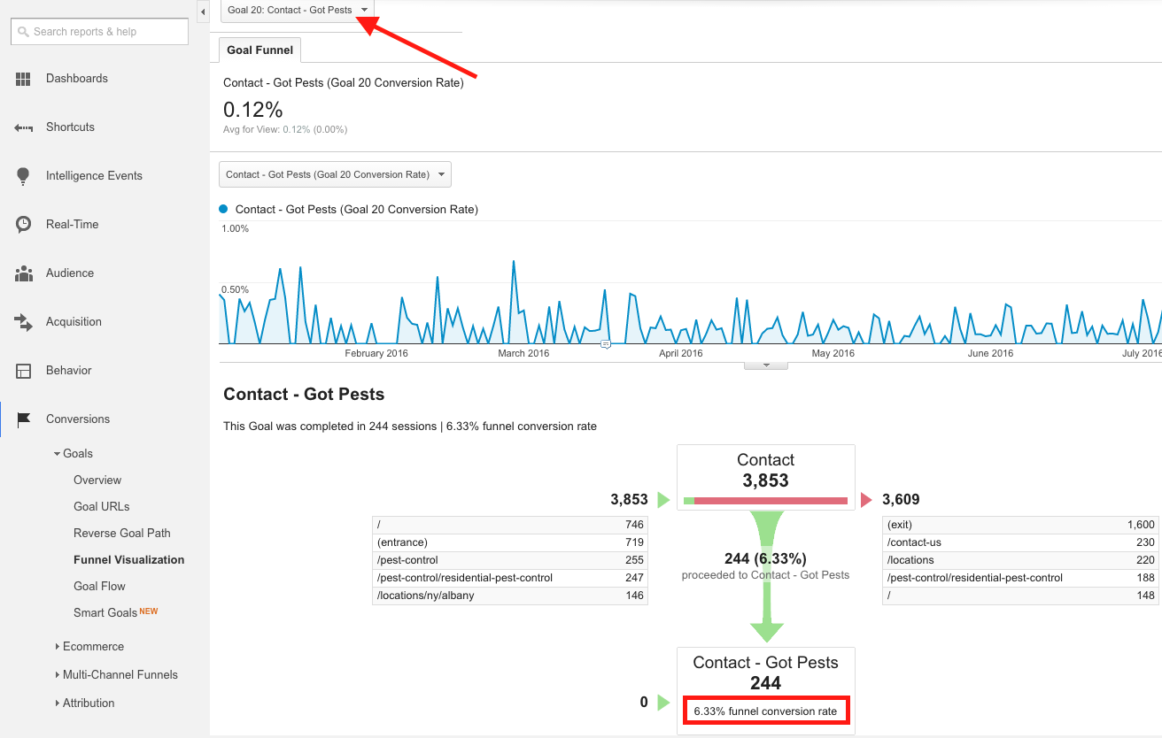 Google Analytics Conversions Chart and Funnel