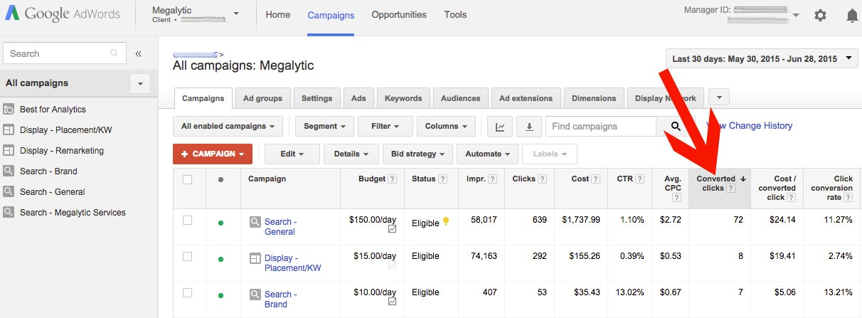 AdWords - Reporting Conversions