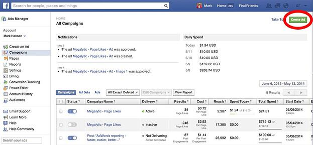 Start creating the Facebook ad