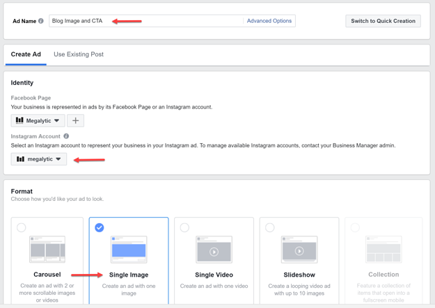 Options When Creating Your Instagram Ad in Facebook Ads Manager