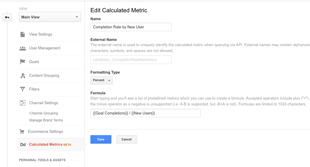 Google Analytics Create Calculated Metric