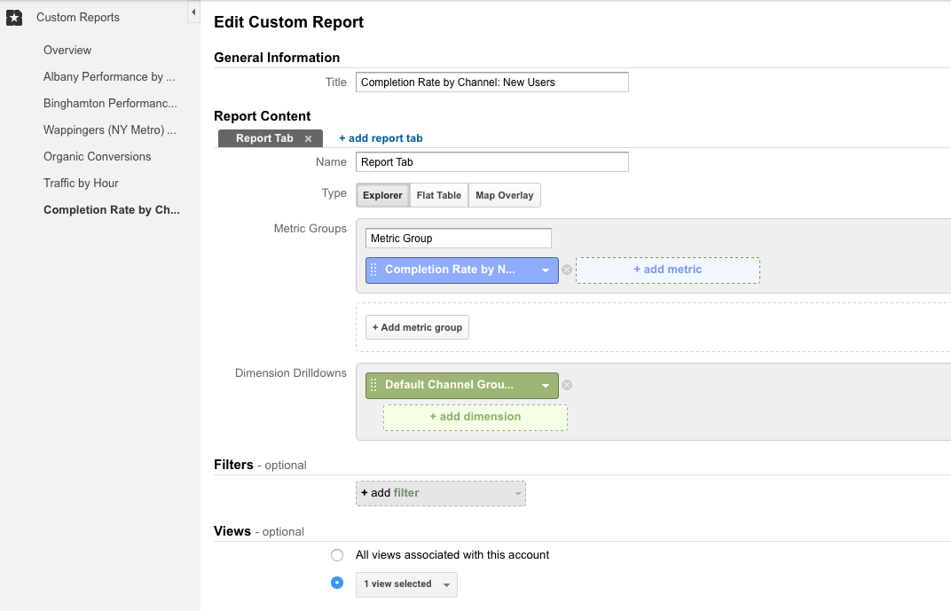 Google Analytics Create Completion Rate Report