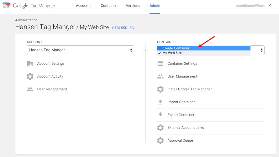 Create a Tag Manager Container