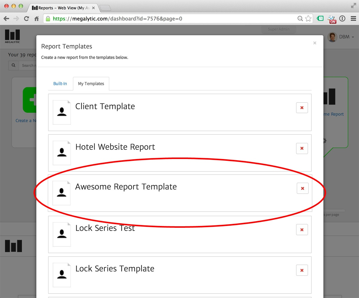 Megalytic - Creating a Report from a Template
