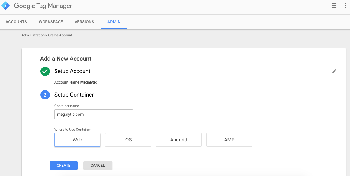 Creating a Google Tag Manager Account