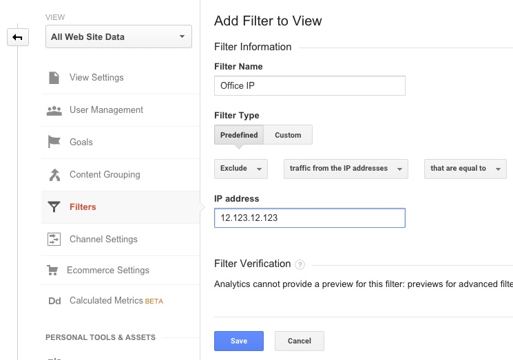 Creating an IP Filter in Google Analytics