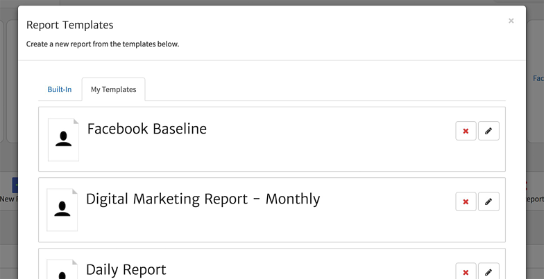 Create a Report from a Facebook Template