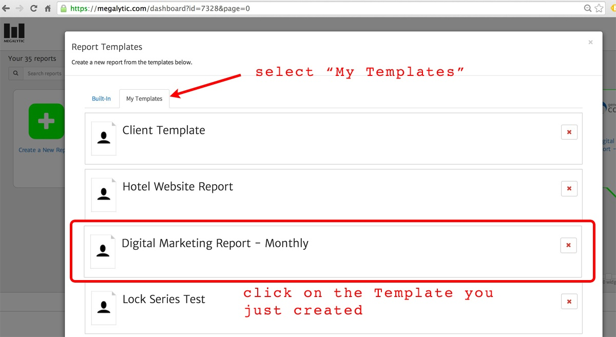 create a megalytic report from a template