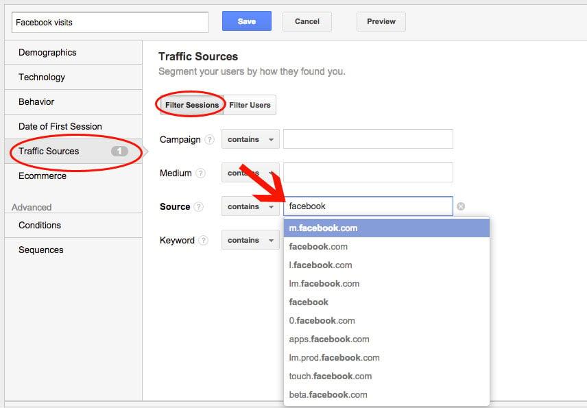Google Analytics Creating a new Segment
