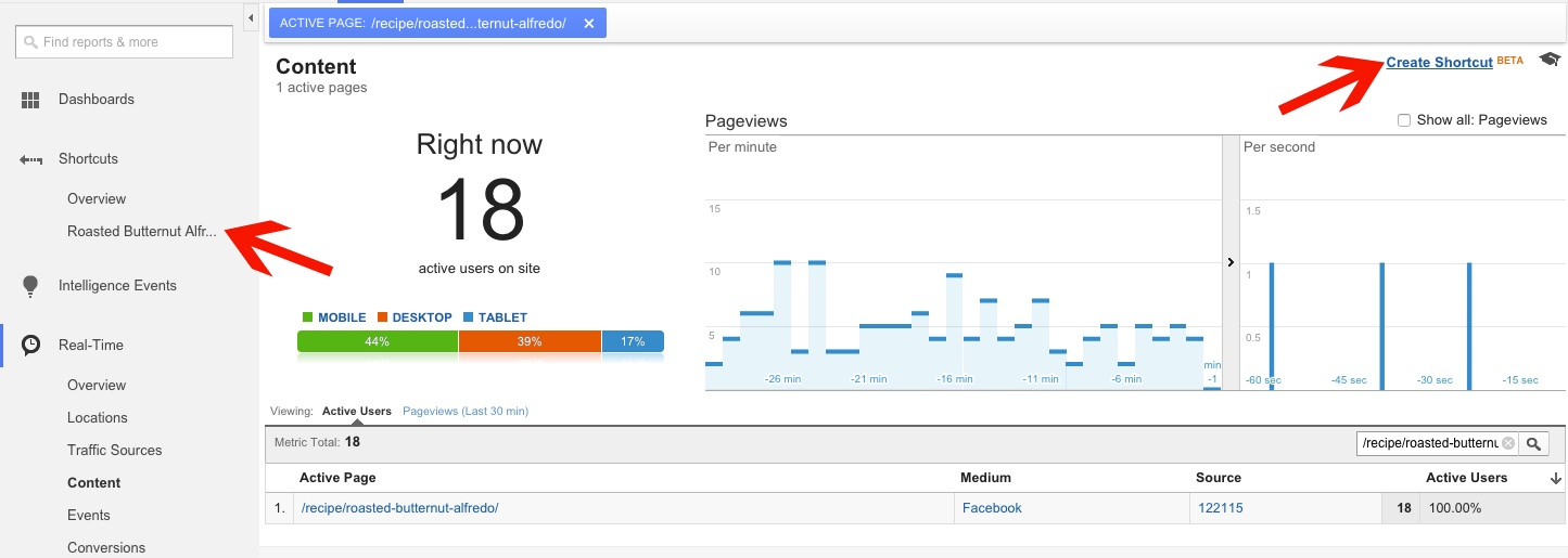 Create a Short Cut to Real Time Reports in Google Analytics