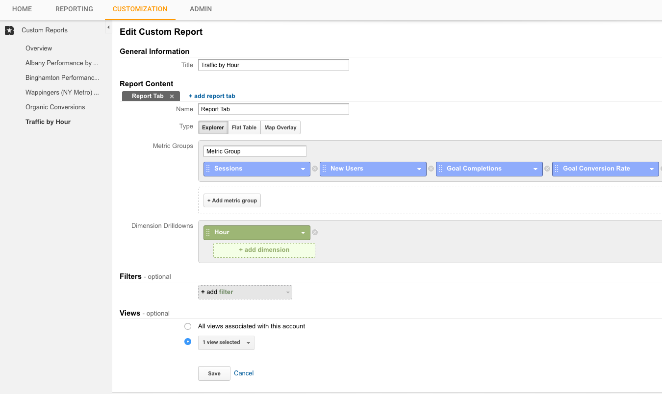 Google Analytics Create Traffic by Hour
