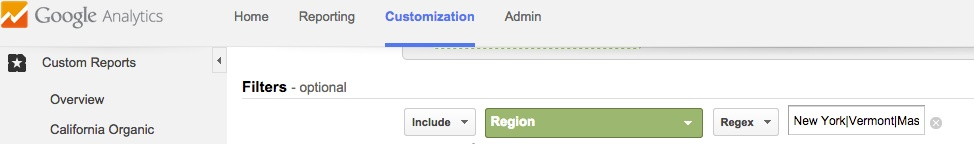 Google Analytics Custom Report Filter