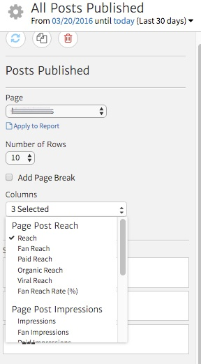 Customizing the Columns of the Facebook Posts Widget