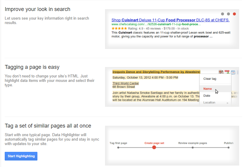Data Highlighter and Google Search Console