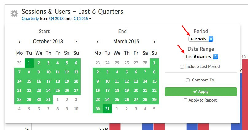 Megalytic Date Picker Selects Quarterly Date Range