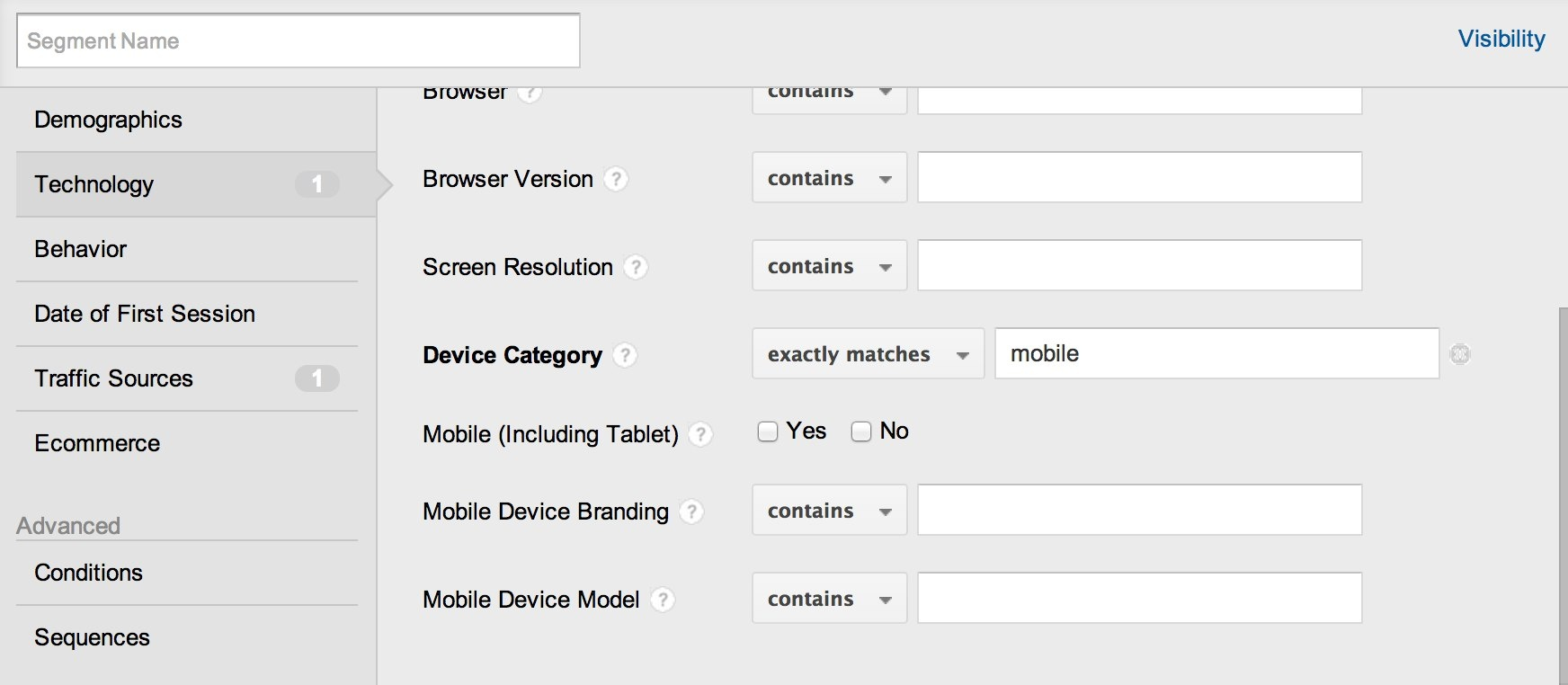 create segment with device category equals mobile
