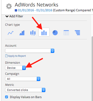 Selecting the Dimension for AdWords Reporting in Megalytic