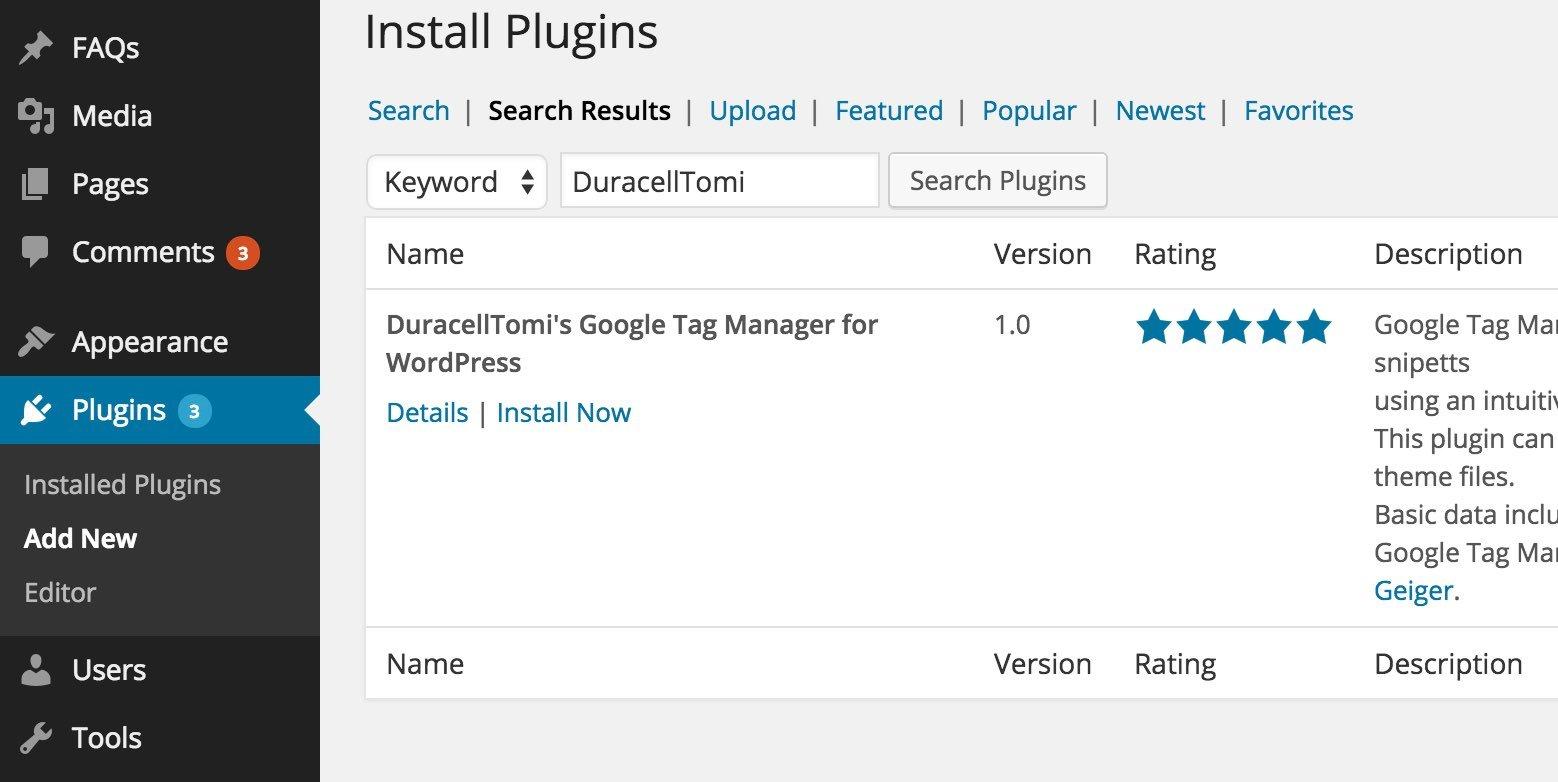 DuracellTomi GTM Plugin for WordPress
