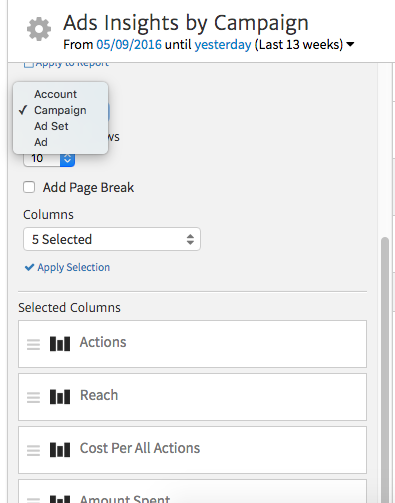 Editing the Ads Campaign Widget