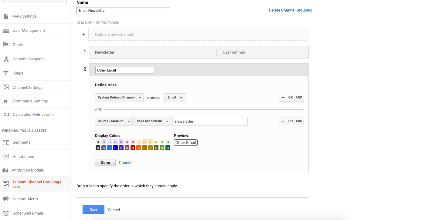 Custom Google Analytics Channel for Email