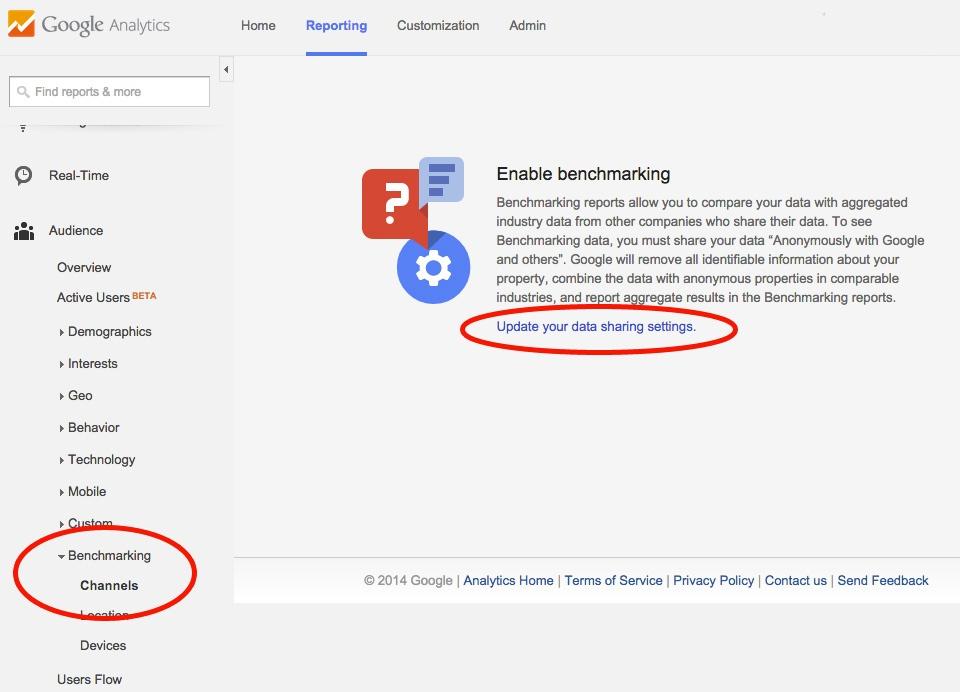 enabling benchmarking in Google Analytics
