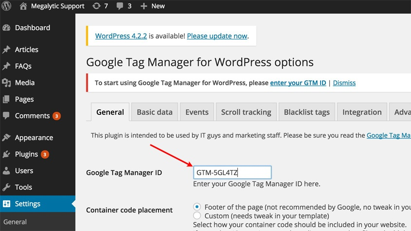 Enter the Google Tag Manager ID
