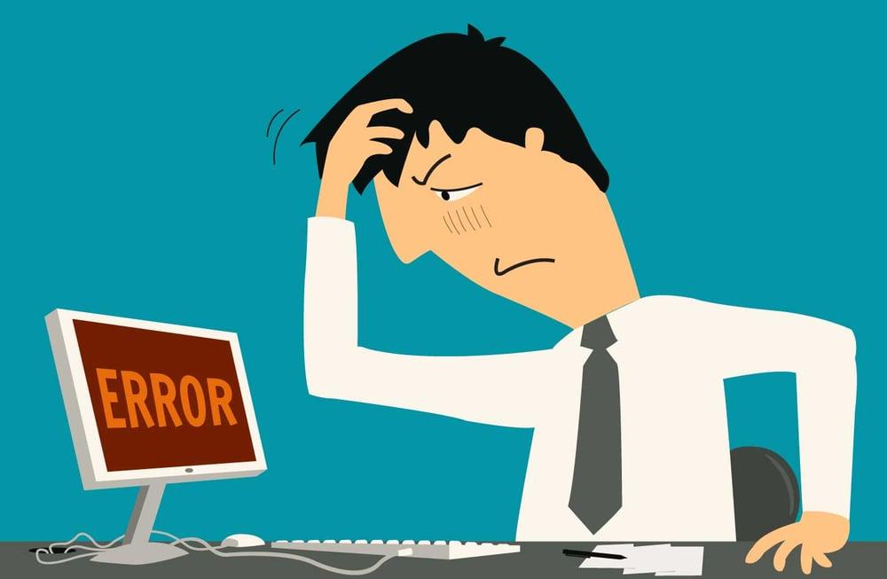 man at computer with error in google analytics