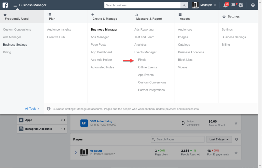 Open Events Manager Pixels in Facebook Business Manager