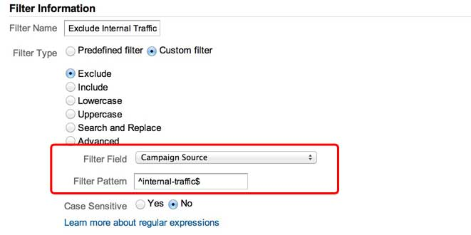 Google Analytics Filter for Internal Tagged Traffic