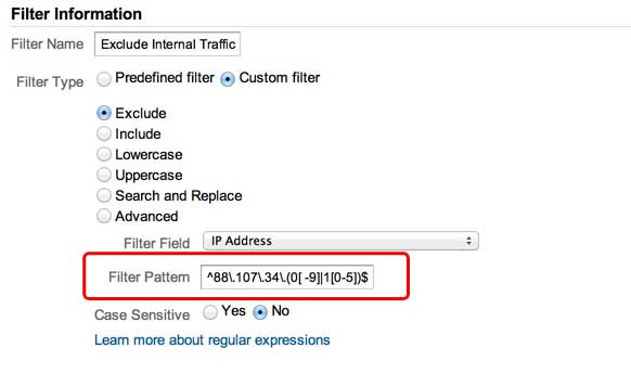 Google Analytics Filter to Exclude an IP Range