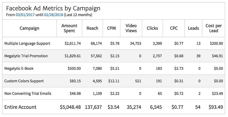 Facebook Ad Metrics by Campaign