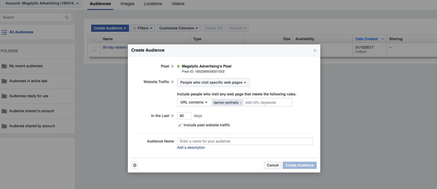 Remarketing to  Facebook Audience List