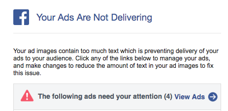 Facebook Warning - Too Much Text