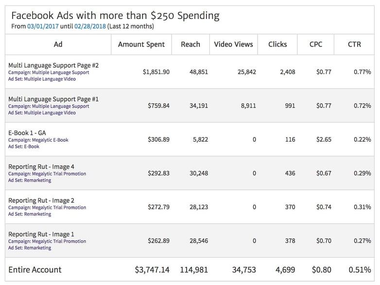 Facebook Ad Level Data