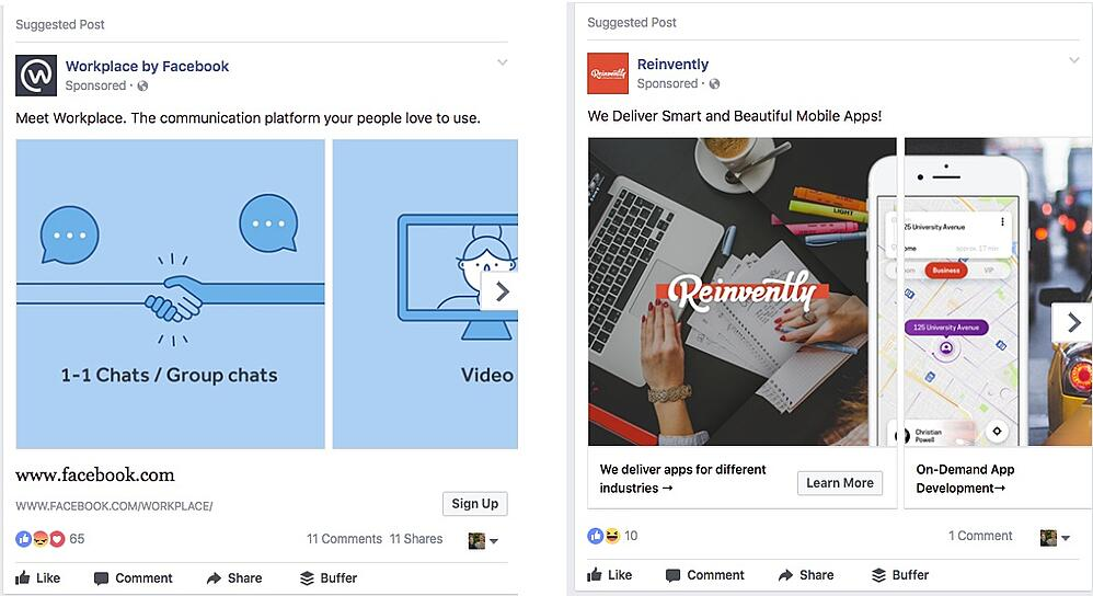 Facebook Carousel Ad Examples