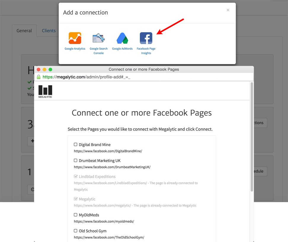 Adding a Facebook Connection in Megalytic