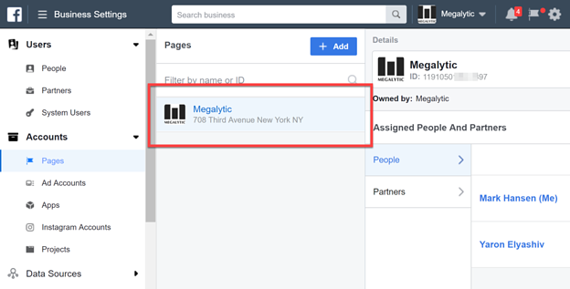 Facebook Page Added to Business Manager