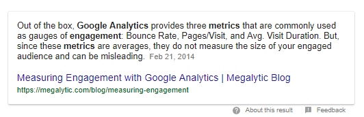 Snippet Showing Ranking on Google SERP