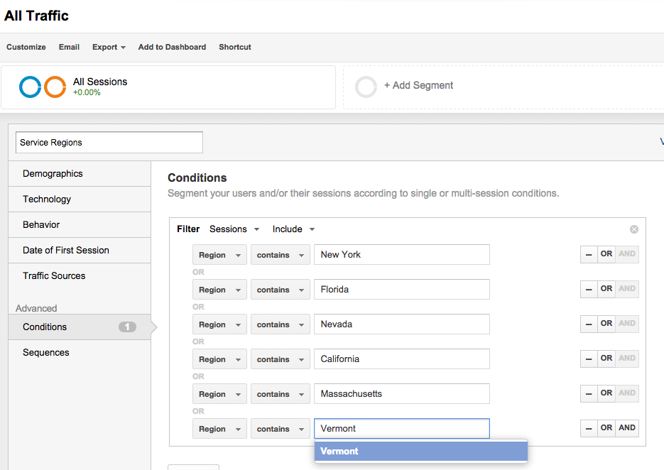 Google Analytics Filtering by a Geographic Region