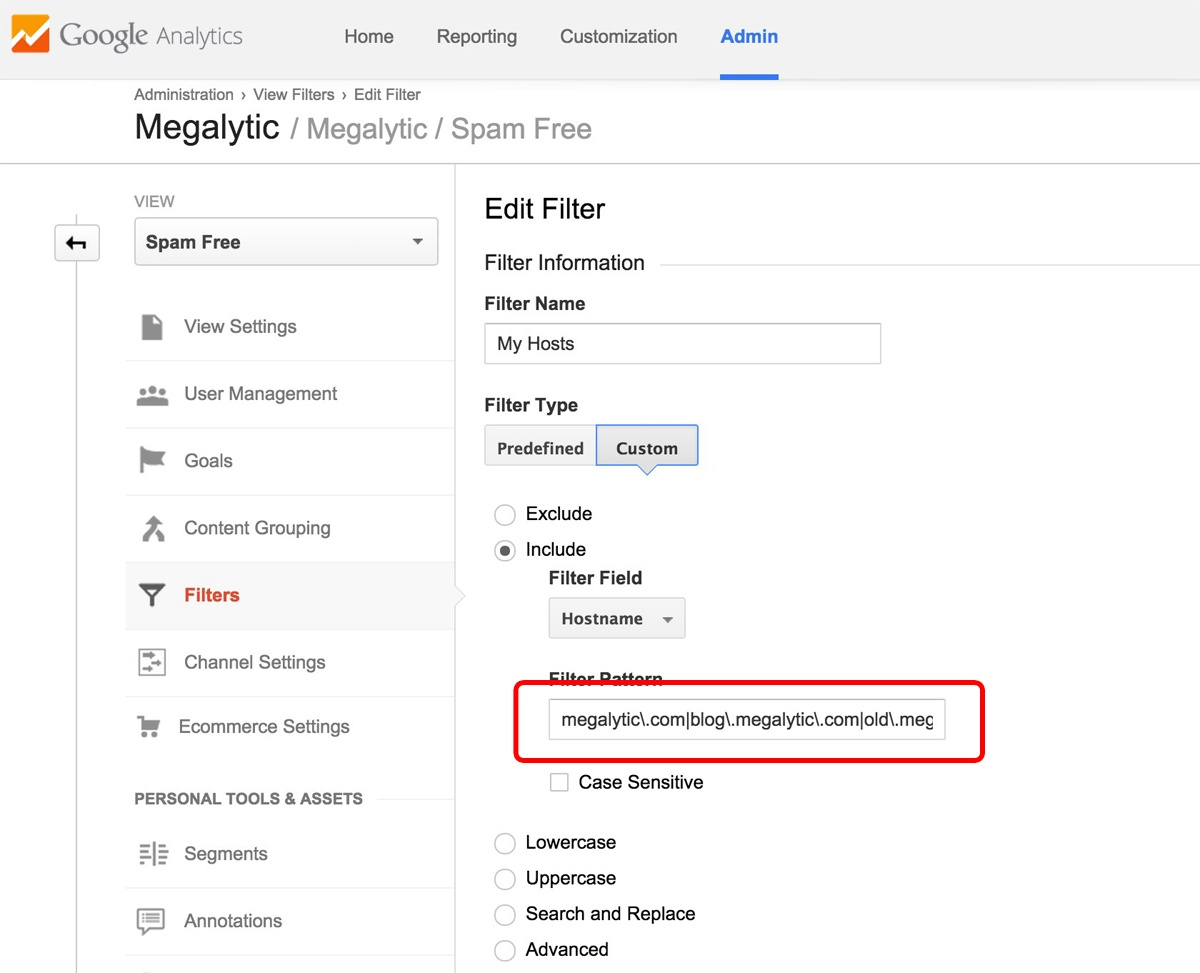 Google Analytics Filter Definition with Hostnames