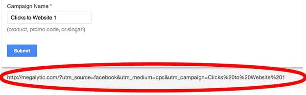 Google URL builder returns the tagged landing page URL