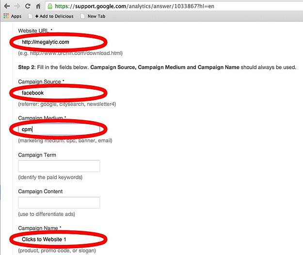 How to fill in the form for the Google URL builder