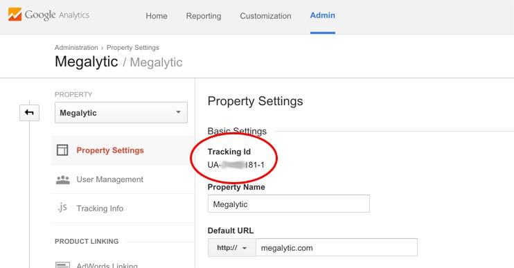 Get the Google Analytics Tracking Id