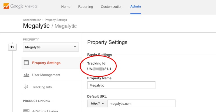 Get the Google Analytics Tracking Id
