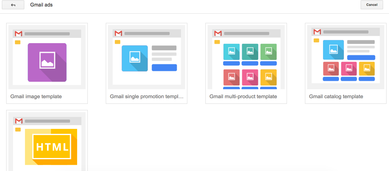 Select Gmail Ad Format